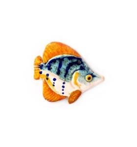 Hal, sárga farokkal és pontokkal, kék, hűtőmágnes