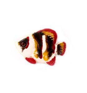 Hal, fekete-fehér, sárgás piros farokkal, fehér, hűtőmágnes