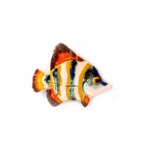 Hal, sávozott, kékes sárga, fehér, hűtőmágnes