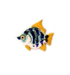 Hal, sávozott, kékes-sárga, kék, hűtőmágnes
