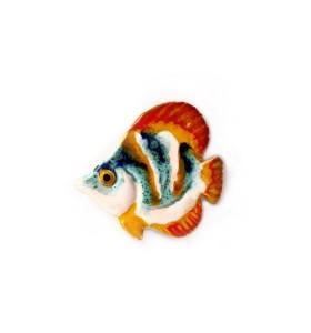 Hal, sávozott, kékes-fehér-sárga, fehér, hűtőmágnes