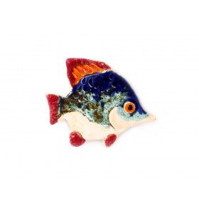 Hal, kékeszöld, piros farok, hosszabb orr, hűtőmágnes