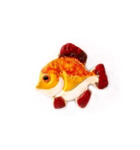 Hal, sárga, piros, lent fehér, piros farokkal, hűtőmágnes