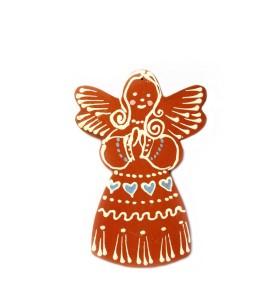 Kis angyal, kék szívmintás, barna