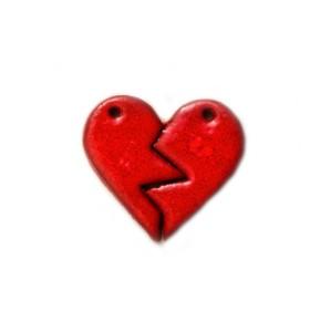 Medál, megtört szív, piros
