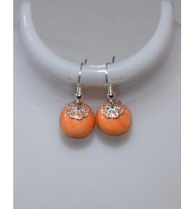 Fülbevaló narancssárga ezüst lóhere foglalattal