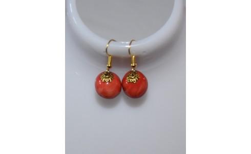 Fülbevaló piros kis arany lóhere foglalattal