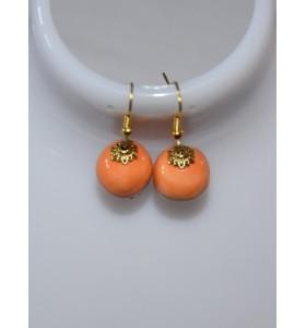 Fülbevaló narancssárga arany minimál foglalattal
