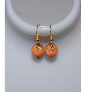 Fülbevaló narancssárga arany lóhere foglalattal