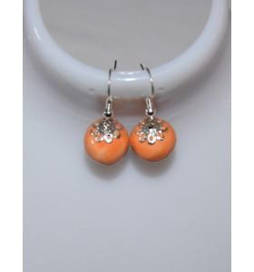 Fülbevaló narancssárga ezüst telített foglalattal