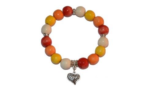 Karkötő, fehér-sárga-narancs-piros, szív medál