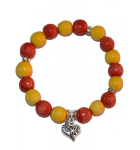 Karkötő, sárga-narancs-piros, szív medál