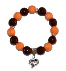 Karkötő, narancs-barna, szív medál