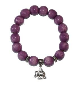 Karkötő, lila, elefánt medál