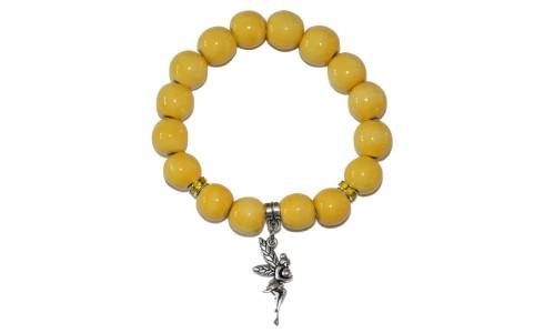 Karkötő, sárga, angyal medál