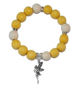 Karkötő, sárga, fehérrel díszítve, kislány medál