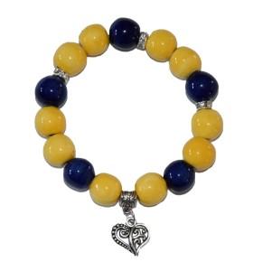 Karkötő, sárga, kékkel díszített, szív medál