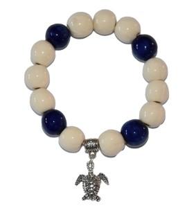 Karkötő, krém, kékkel díszített, teknős medál