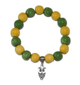 Karkötő, zöld és sárga, bagoly medál
