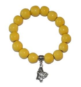 Karkötő, sárga, lepke medál