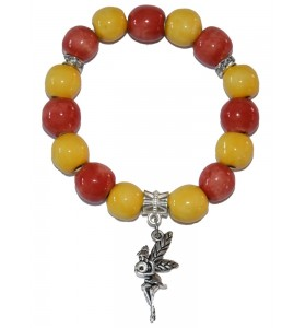 Karkötő, piros és sárga, kislány medál