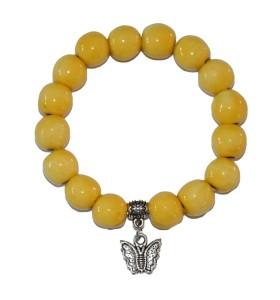 Karkötő, sárga, katica medál