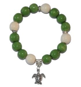 Karkötő, zöld, fehérrel díszített, teknős medál
