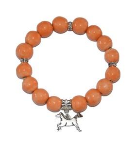 Karkötő, narancssárga, lovacska medál