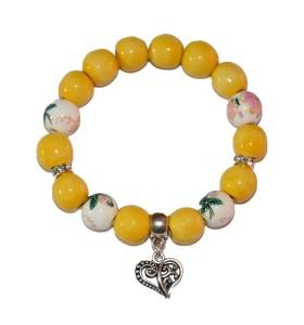 Karkötő, sárga, színessel díszített, szív medál