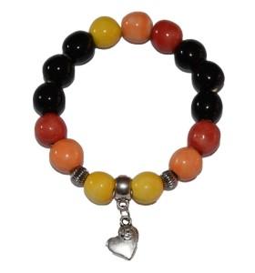 Karkötő, fekete-sárga-narancs-piros, szív medál
