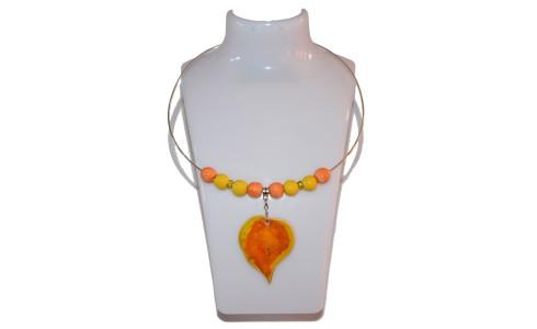 Nyaklánc, narancssárga-sárga, falevél medál