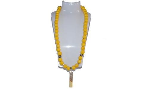 Nyaklánc, sárga, kerámia medál