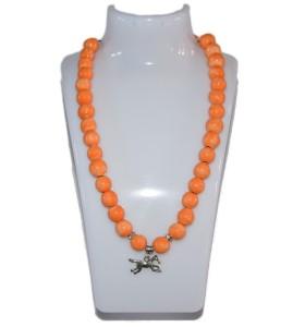 Nyaklánc, narancssárga, lovacska medál