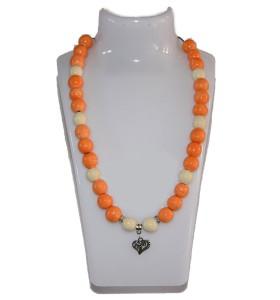Nyaklánc, narancssárga, fehér dísz, szív medál