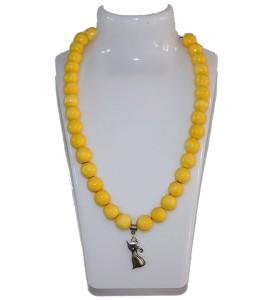Nyaklánc, sárga, cicus medál