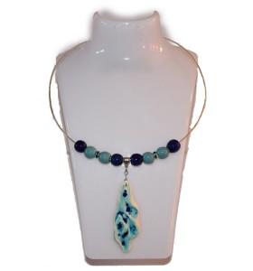 Nyaklánc, kék, zöld dísz, tengeri kő medál