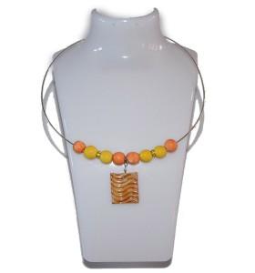 Nyaklánc, sárga és narancssárga, téglalap medál