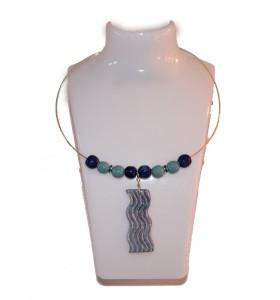 Nyaklánc, kék-zöld, kék zöld hullámos medál