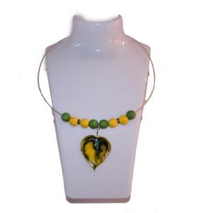 Nyaklánc, sárga és zöld, sárgás levél medál