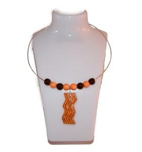 Nyaklánc, narancssárga és barna, hullámos medál