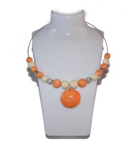 Nyaklánc, narancs és krém, narancs kör medál