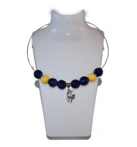 Nyaklánc, kék, sárga dísz, unikornis medál