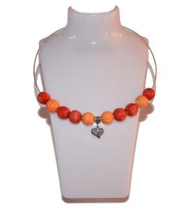 Nyaklánc, piros, narancs dísz, szív medál