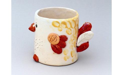 Kerámia bögre, csirke típus, krém, sárga bordó dekoráció