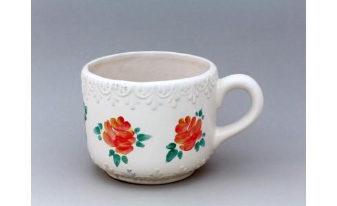 Kerámia bögre, alacsony, fehér, rózsa dísz (hímzés)