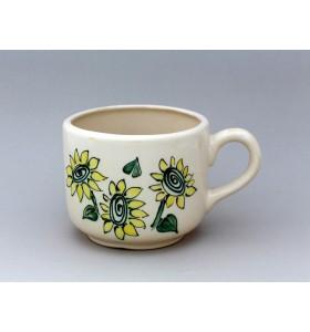 Kerámia bögre, gyógynövény típus, fehér, sárga virág dísz