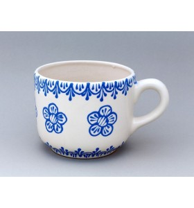 Kerámia bögre, gyógynövény típus, fehér, kék virág dísz