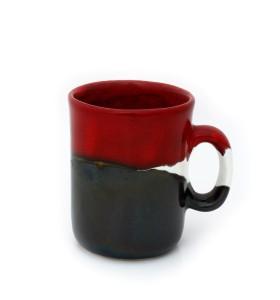 Kerámia bögre, magas, tricolor (piros, fehér, sötét szürke)