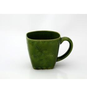 Kerámia bögre, négyzet alakú, zöld, pikkelyes, virág díszítés