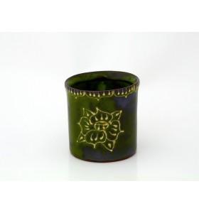 Kerámia bögre, tea típus, kékeszöld, pikkely minta, virág dísz